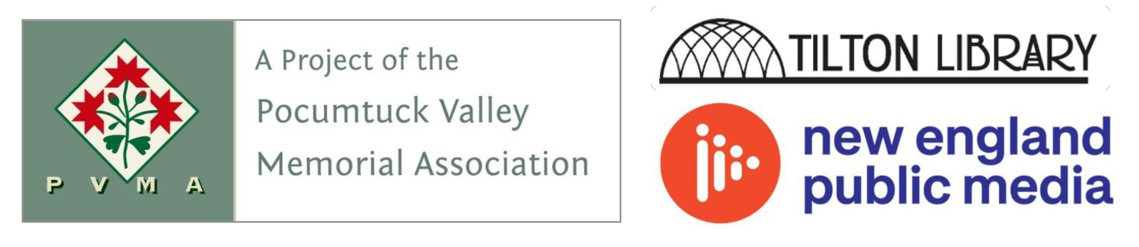 Three logos, Big Read sponsors. PVMA (A Project of the Pocumtuck Valley Memorial Association), Tilton Library, and New England Public Media