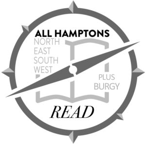 "All Hamptons Read logo, compass. Includes the words, ""North, East, South, West, Plus Burgy"""