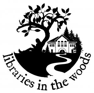 Libraries in the Woods logo. Black and white line-drawing of a person sitting under a tree with a book. Winding path to a library in the background.