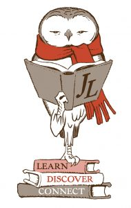 "Jones Library logo. Owl with red scarf reading a book, standing on books with the words ""Learn,"" ""Discover,"" and ""Connect"" on the spine."